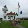 Boy Scouts Raising Flags during Opening Day at the Lighthouse